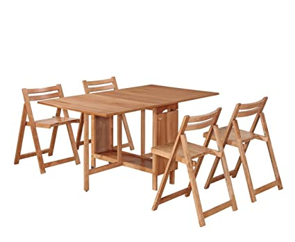 Amazon.com: Linon Home D+cor 5-Piece Space Saver Table And Chairs ...