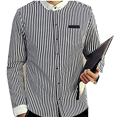 Nice ainr Men's Fashion Striped Print Lined Fleece Blouse Tunic Shirts supplier