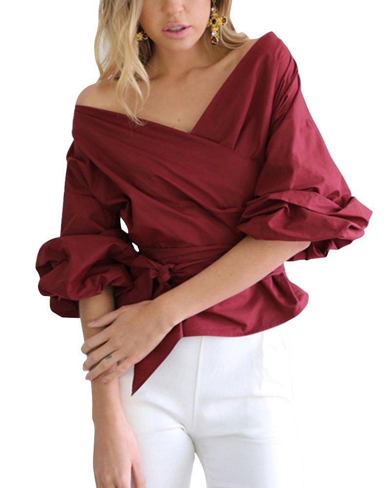 Camicetta Bluse Donna Camicia Casual Elegante T-Shirt Top