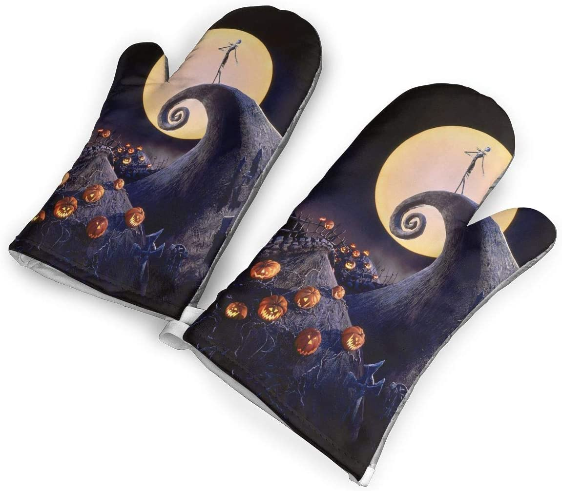 HEPKL Oven Mitts The Nightmare Before Christmas 1Pair of Non-Slip Heat Resistant Oven Gloves Kitchen for Cooking Baking Grilling Barbecue Potholders