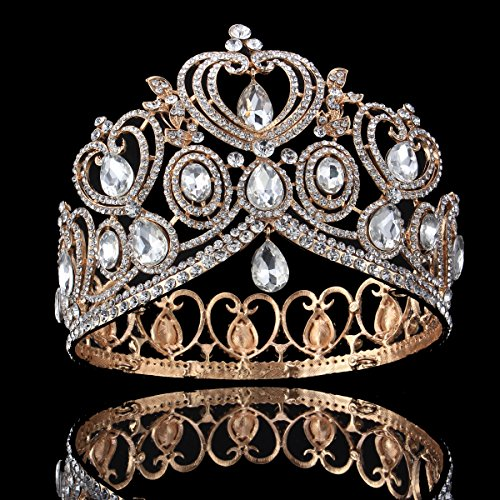FUMUD Height 4.1'' Silver Luxurious Vintage Wedding Queen Princess Large Rhinestone Crowns And Tiaras Pageant Prom Bridal Crystal Hair Accessories (Gold)