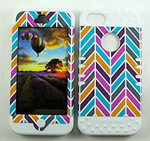 APPLE IPHONE 5 5S HEAVY DUTY HIGH IMPACT HYBRID COVER CHEVRON WH-TE601 CASE WHITE SILICONE SKIN