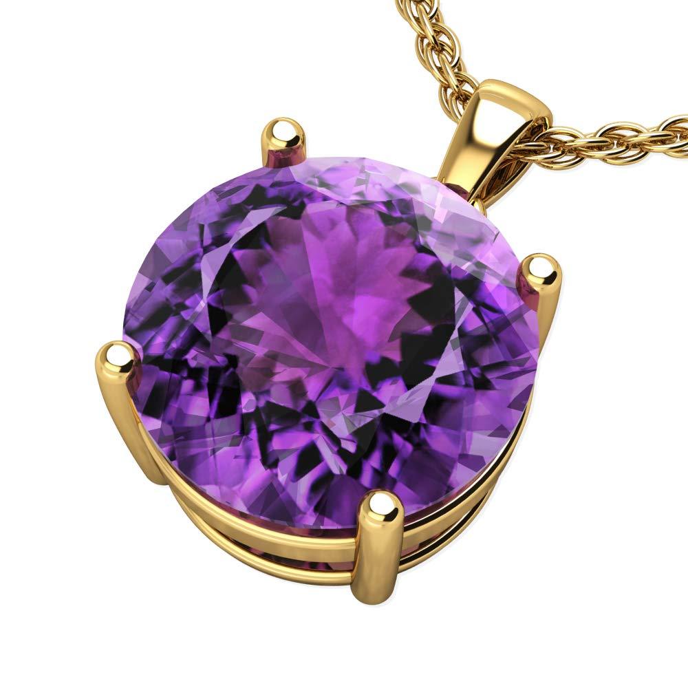 Belinda Jewelz 14k White Or Yellow Gold Round Cut Gemstone Solitaire Pendant Necklace