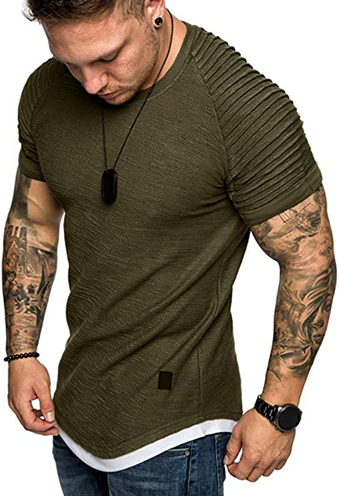 Men Tops Blouse MILIMIEYIK,Mens Hip Hop Hoodies T-Shirts Short Sleeve Ruched Lightweight Pullover Shirts for Summer