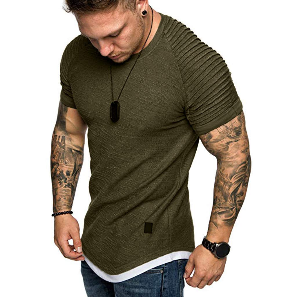 Fashion Men's Comfort Soft Short Sleeve T-Shirt, ANKOLA Summer Pleated Slim Fit O Neck Raglan Tops Blouse Army Green by ANKOLA STORE (Image #1)