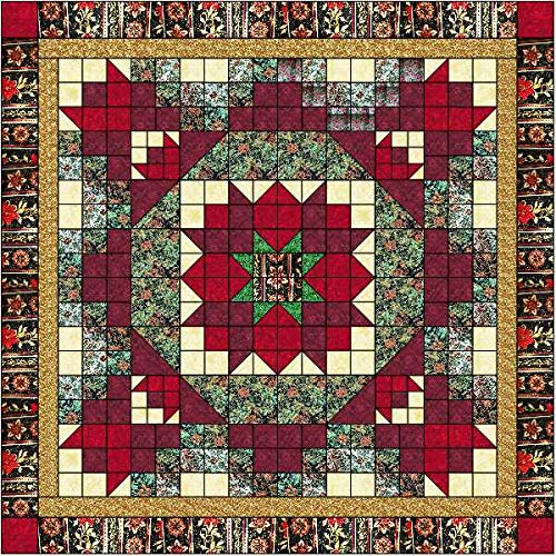 Easy Quilt Kit Christmas Poinsetta Nine Patch/EXPEDITED SHIPPING by Galaxy/RJR