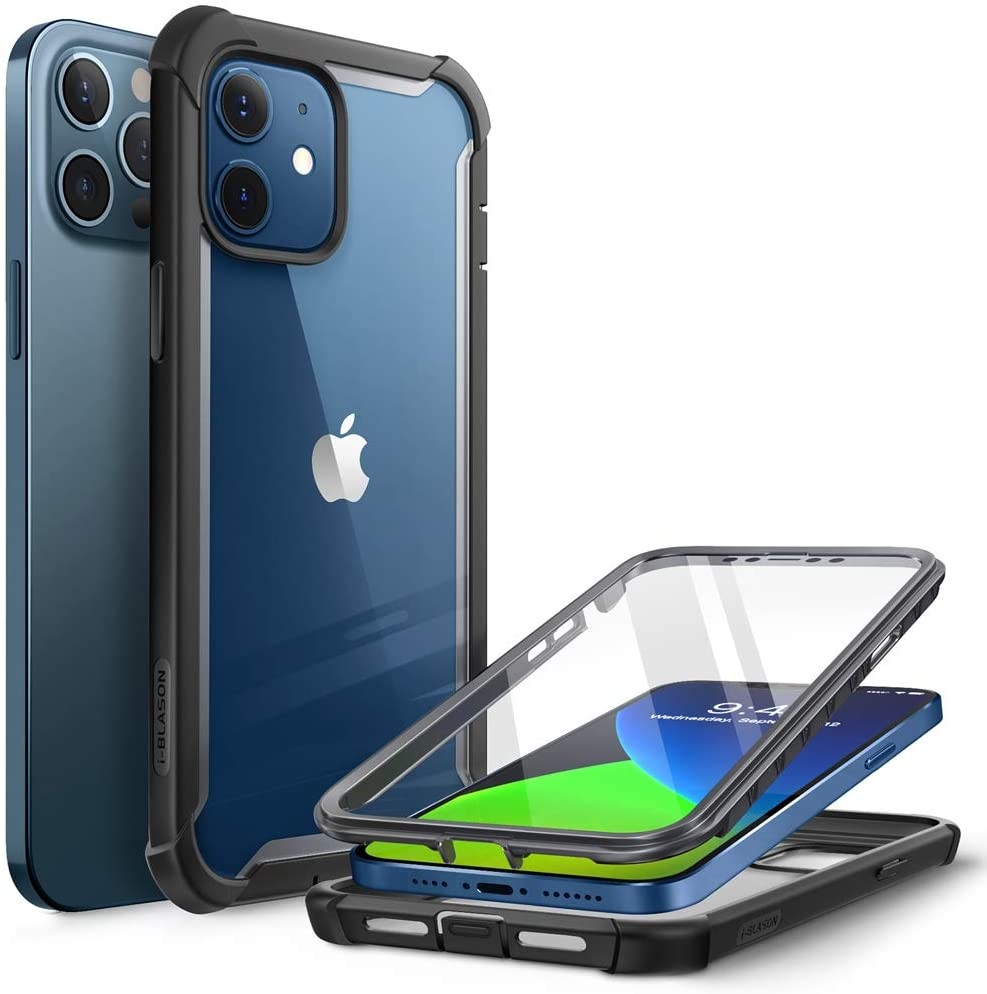 i-Blason Ares Case for iPhone 12, iPhone 12 Pro 6.1 Inch (2020 Release), Dual Layer Rugged Clear Bumper Case with Built-in Screen Protector (Black)