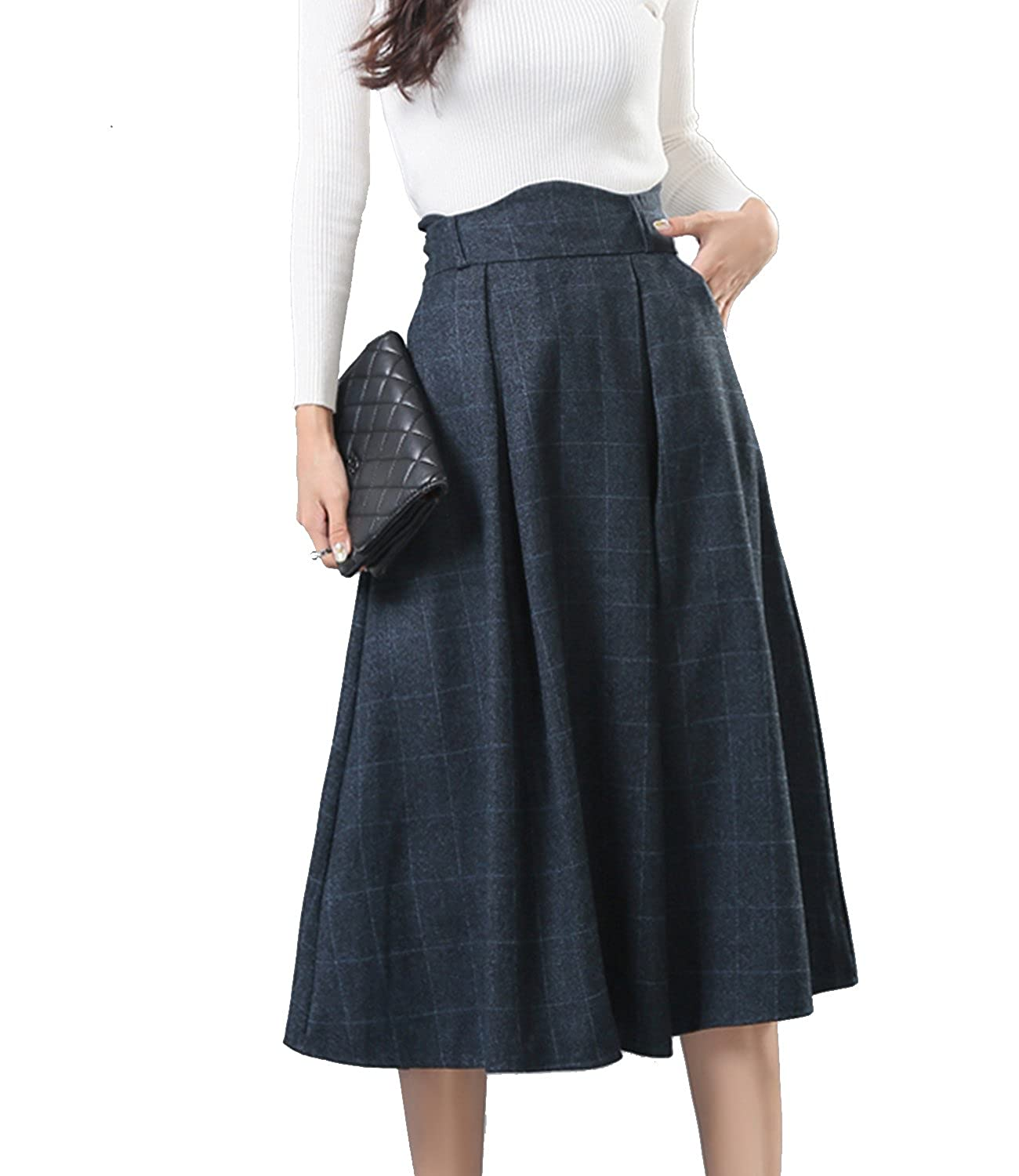 1890s-1905 Edwardian Gibson Girl Era Clothing Links Sanifer Womens Wool Plaid Flared Skirt Winter Fall Long Midi Skirt $28.99 AT vintagedancer.com