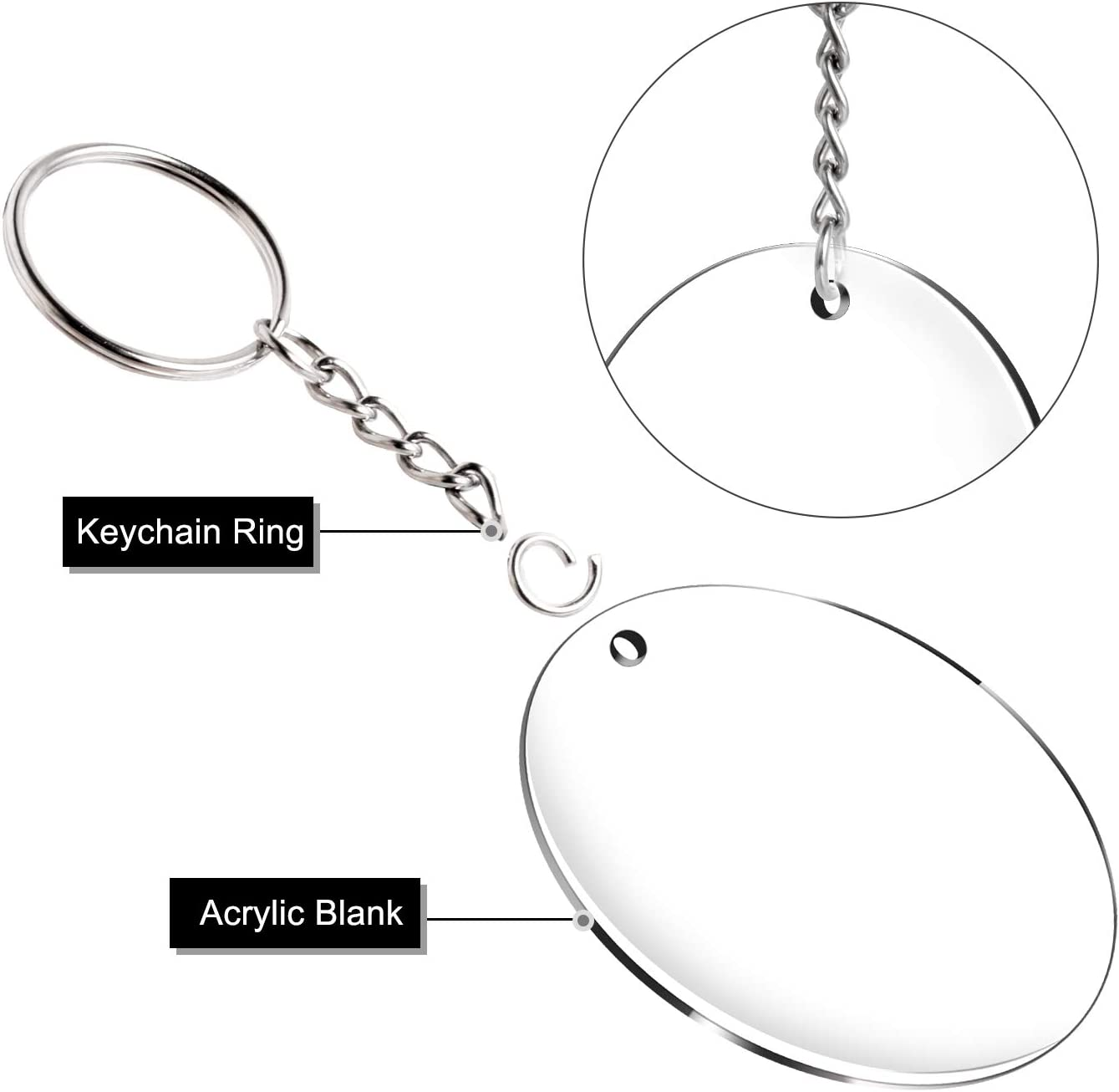 Acrylic Clear Keychain Blanks 60 Pcs 2 Inch Diameter Round Acrylic Discs Circles with Metal Split Key Chain Rings