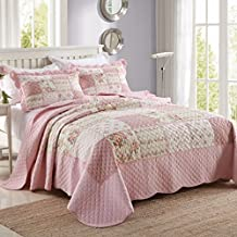 FADFAY Full Romantic Pink Roses Girl Comforter Sets Childrens Patchwork Quilts Princess Girls Floral Quilted Bedding Set Summer Quilt Blanket 3Pcs