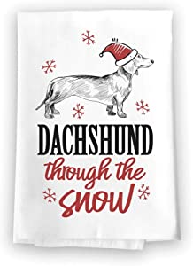 Honey Dew Gifts Funny Kitchen Towels, Dachshund Through The Snow Flour Sack Towel, 27 inch by 27 inch, 100% Cotton, Highly Absorbent, Multi-Purpose Towel