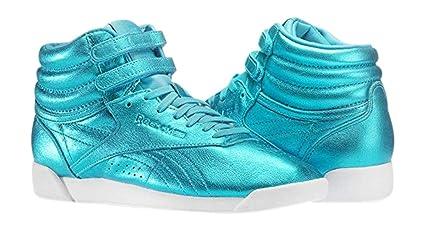 Reebok Women s Freestyle Hi Metallic Fashion Sneaker, Feather Blue, White  (6 B ( ce89458bf2