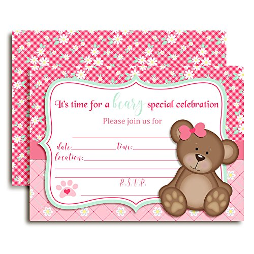 Teddy Bear Girl Birthday Party Invitations for Girls, 10 5