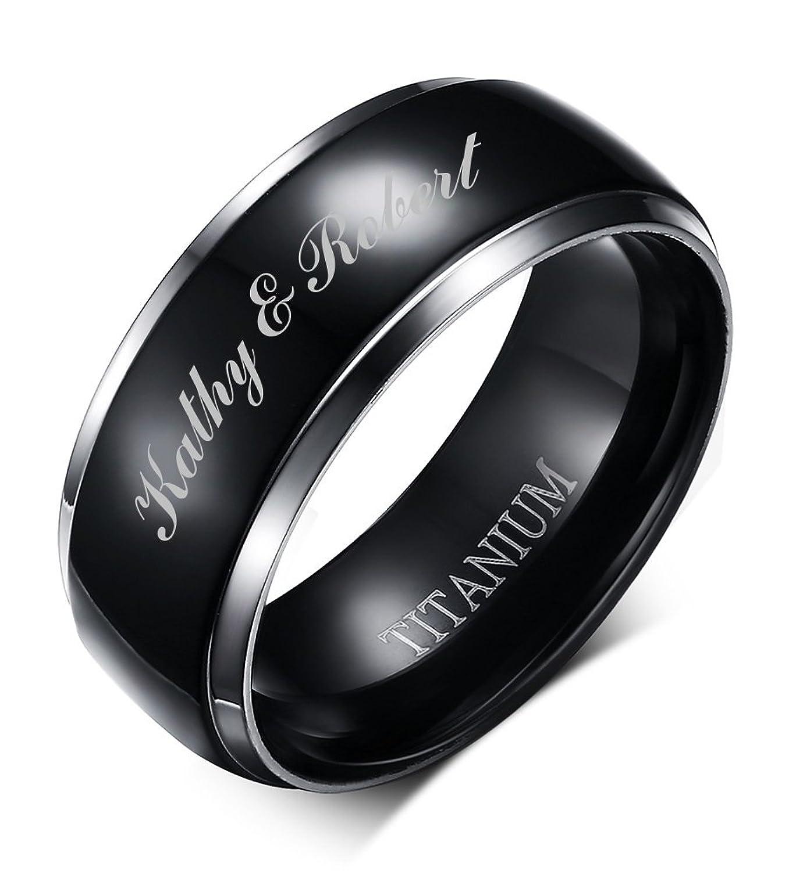 Free Engraving Personalizedツートンカラーチタンブラック光沢結婚式エンゲージメントリングバンドメンズ、8 mm B0777BXJ5B 10