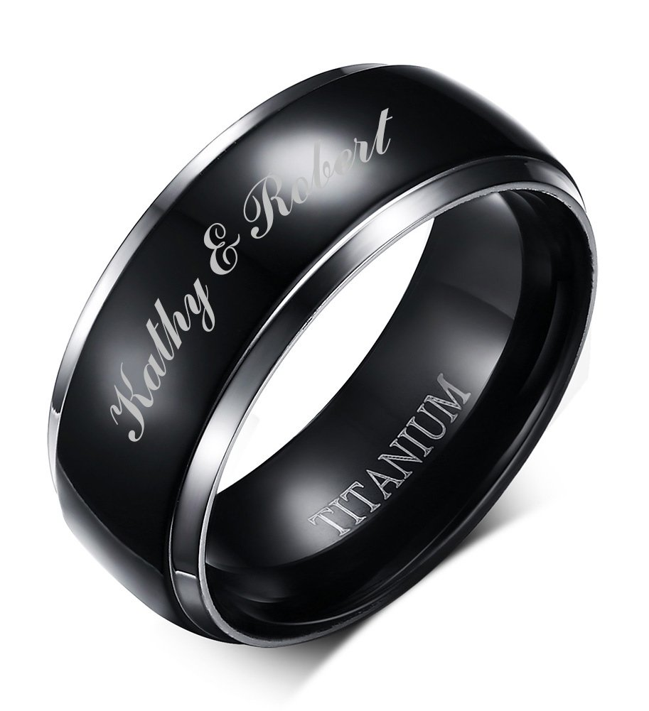 Mealguet Jewelry Free Engraving Personalized Two-tone Titanium Black Polished Wedding Engagment Ring Bands for Men, 8mm,size 10