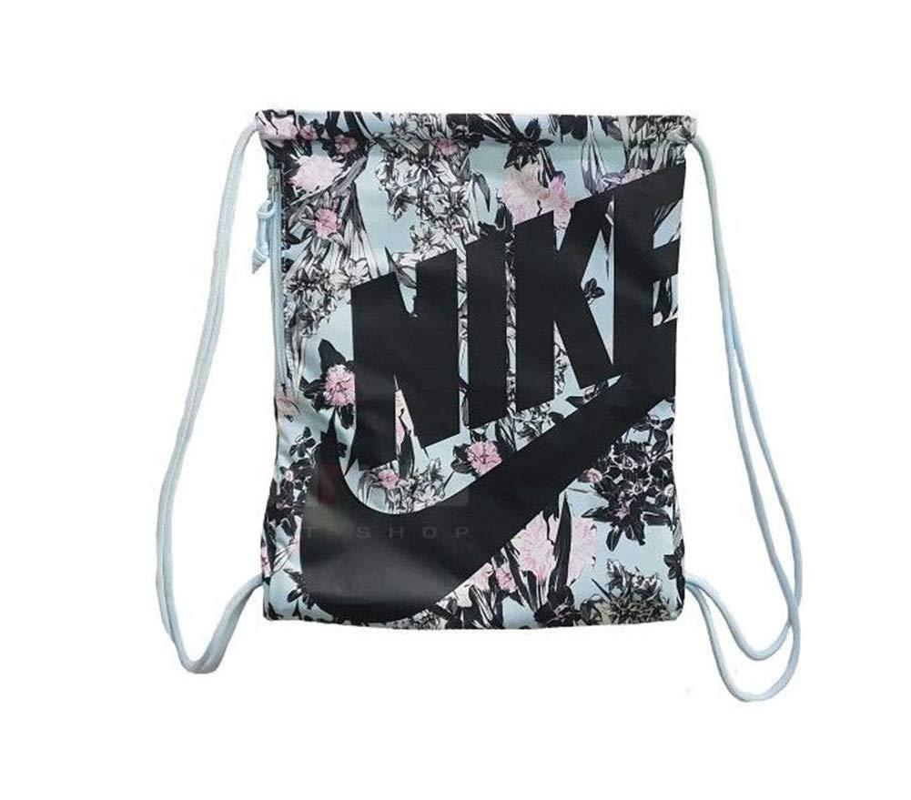 Nike Women's Heritage Flower Power Gym Sack (Topaz Mist/Black)
