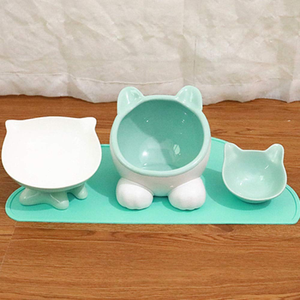 TOMSSL Cat Bowl Ceramic Bowl Cat Food Set Rice Bowl Cat Water Bowl Send Pad Cleaning Convenient Convenience (Color : Green) by TOMSSL