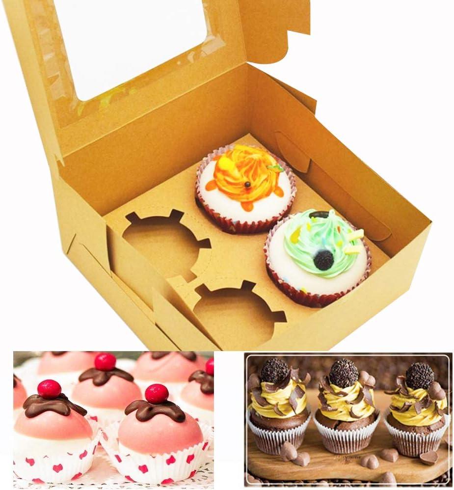grandes bo/îtes de boulangerie standard en kraft marron avec fen/être de qualit/é alimentaire cadeau en vrac Lot de 10 bo/îtes /à cupcakes en kraft avec 6 inserts et fen/être