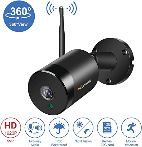 5MP Outdoor WiFi Security Camera Wireless Jennov 360 Degree Panoramic Two Way Audio Surveillance Camera Outdoor with Night Vision for Home Security Pre-Installed 32G Micro SD Card Loop Recording