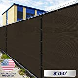 Windscreen4less Heavy Duty Privacy Screen Fence in Color Brown with Black Strips 8′ x 50′ Brass Grommets w/3-Year Warranty 150 GSM (Customized