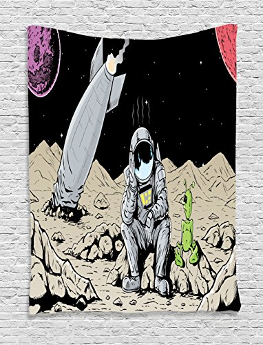 - Ambesonne Outer Space Decor Collection, Sad Astronaut is Feeling Bad for Crashing His Ship Accident in Space Funny Artwork, Bedroom Living Room Dorm Wall Hanging Tapestry, Black Grey Ivory