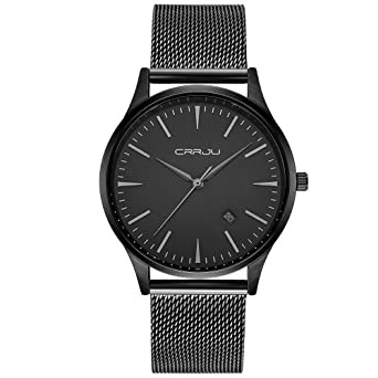 4125f15f97f CRRJU Mens Black Plated Slim Case Mesh Stainless Steel Band Waterproof  Watches for Men