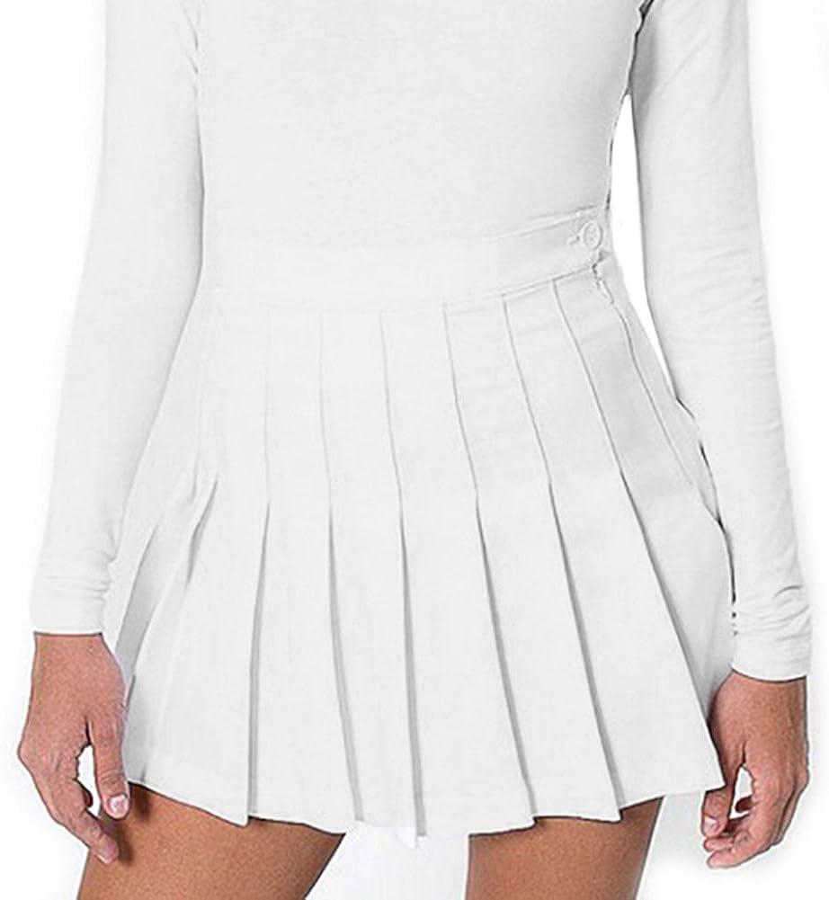 Yying Faldas de Escuela de Tenis para niñas Mini Faldas Plisadas con Cintura Alta de Mujer