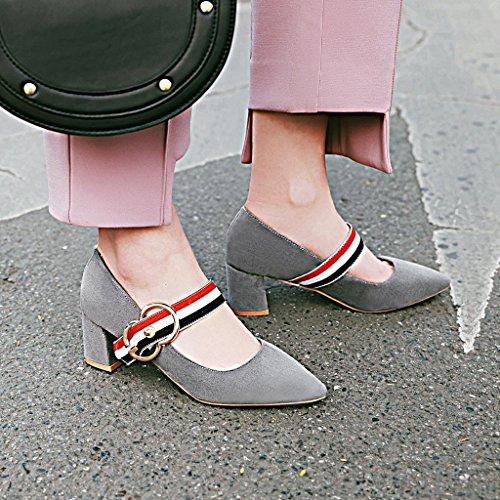 Sugerencia luz de con y zapatos gray la sola mujer zapatos áspero la a de satin 4q4Fg