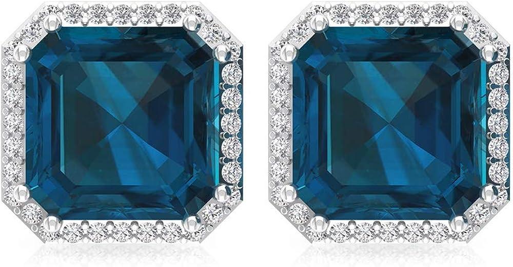 4,2 ct azul topacio London Pendiente, forma de Asscher Pendiente declaración, IGI certificado de diamante, HI-SI, pendientes de novia de diamante, tornillo hacia atrás