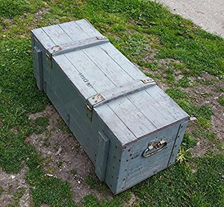 LARGE VINTAGE Wooden Chest Post Military Storage Box with Lid Garden / Patio Tool Case DIY & LARGE VINTAGE Wooden Chest Post Military Storage Box with Lid Garden ...