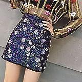 Fancy Apparel Women Embroidery Flower Sequin Mini Chiffon Skirt Vintage Pearl Luxury Skirt