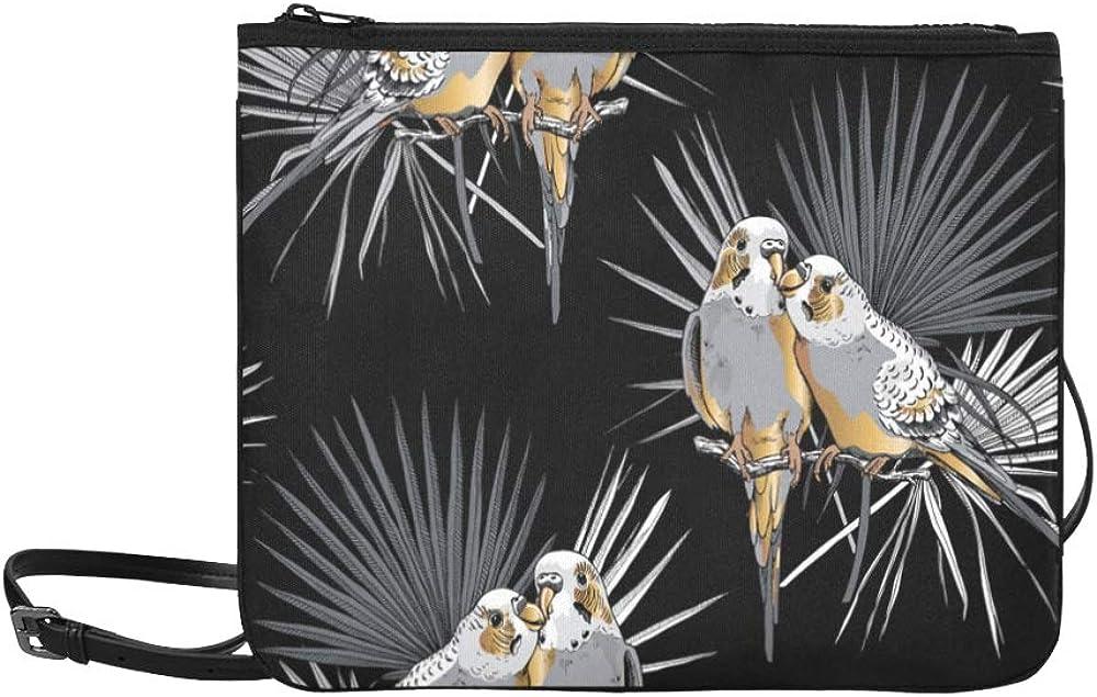 Crossbody Bag Fashion Retro Goldwing Bird Flower Green Leaf Adjustable Shoulder Strap Handbag Display For Women Girls Ladies Book Bag Cross Body Canvas Crossbody Tote Bag