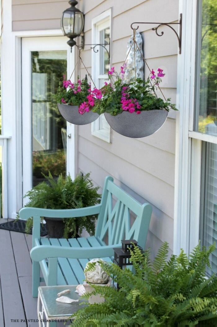 Amazon.com: Hanging Planters Large 13.2 In Resin Flower Pots Outdoor ...
