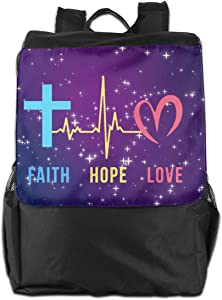 Polyester Travel Bag Faith Hope Love Cross Heartbeat Galaxy Men &Women School Bag