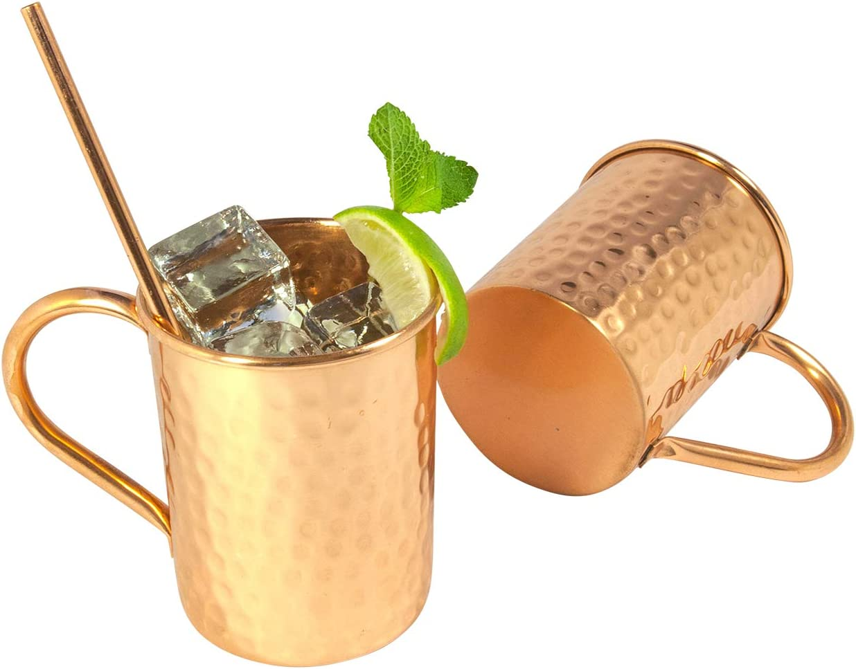 Artigee 4 Piece Moscow Mule Mug Set with Shot Glass /& Straws 100/% Pure Copper 4 Handcrafted Mugs Featuring Hammered Finish Copper Shot Glass Includes Premium Gift Box 4 Copper Straws 16 oz