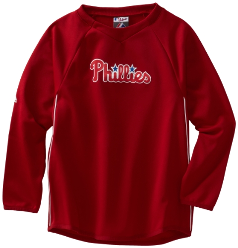 MLB Boys' Philadelphia Phillies Long Sleeve Crew Neck Thermabase Tech Fleece Pullover (Pro Scarlet/Pro White, Small)