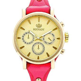Scpink Diseño Retro Relojes analógicos de Cuarzo para Dama, Falso Interior de Tres Ojos, Seis punteros para Mujer, con Remaches Relojes de Pulsera de Cuero ...