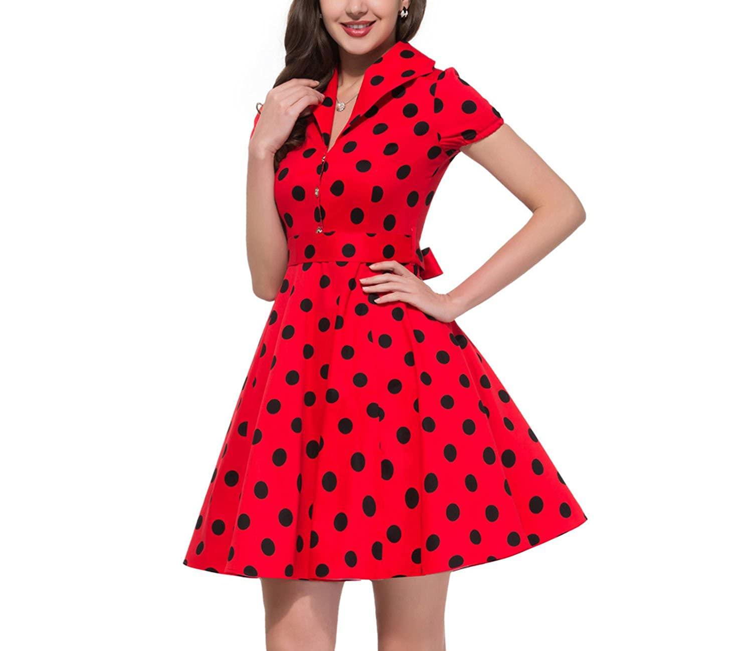Big Swing Vestidos Retro Robe Casual Prom Rockabilly Party Dress 50s 60s Pinup Vintage Dresses at Amazon Womens Clothing store: