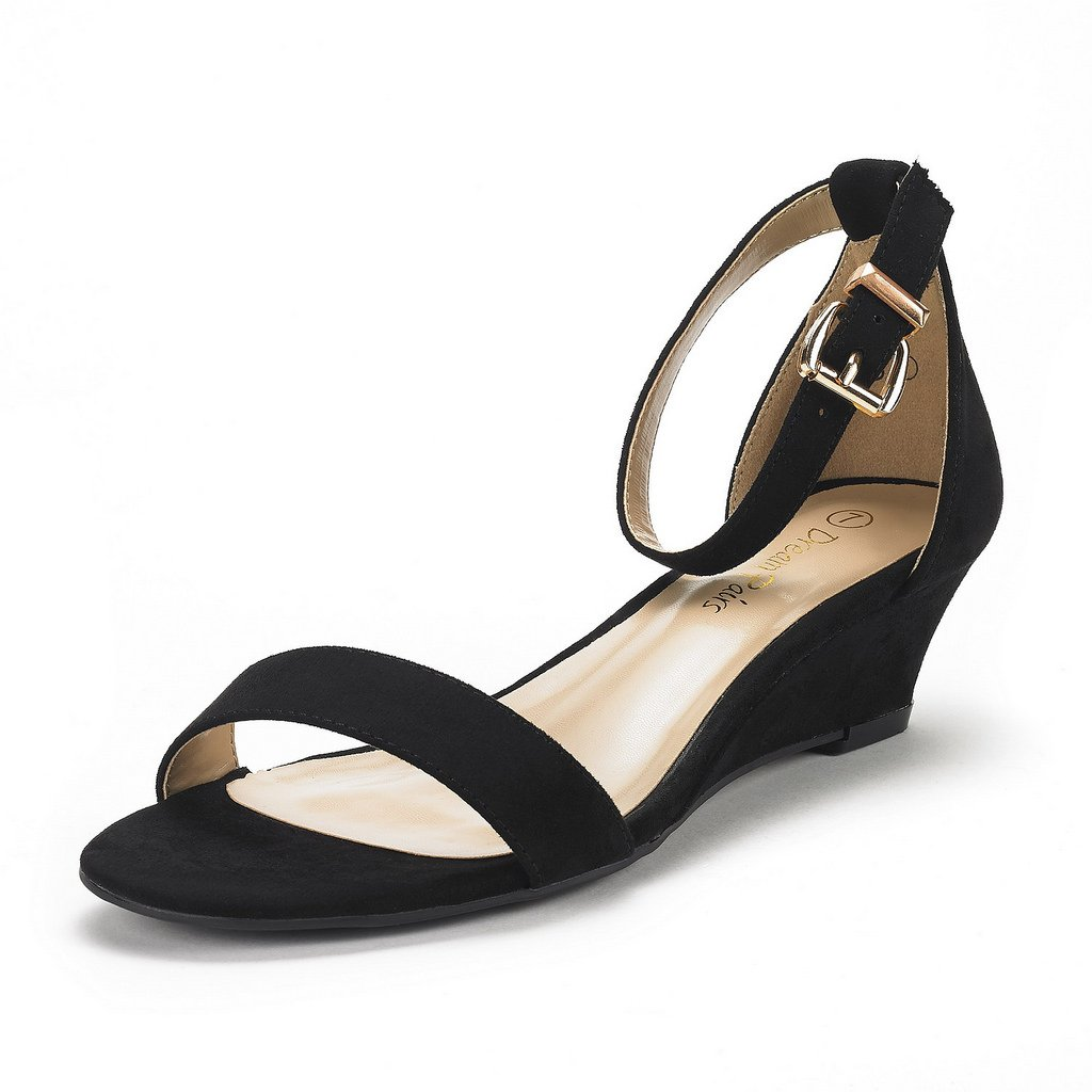 DREAM PAIRS Women's Ingrid Black Suede Ankle Strap Low Wedge Sandals Size 10 M US