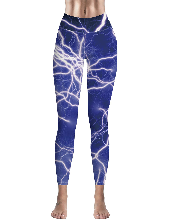 Sodika Women Stretch High Waist Yoga Pants Running Tights Lightning Capris Compression Workout Leggings