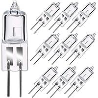 HISG G4 Halogen Light Bulb, 10 Pack 20W 12V G4 Halogen Bi-Pin Bulb, 260LM, 2800K Warm White Clear Capsule Lamp
