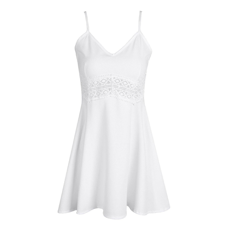SUNNOW® NEU Sommerkleid Minikleid Tops Blumen bedruckt Chiffon Neckholder ärmellos Partykleid Cocktailkleid Elegant
