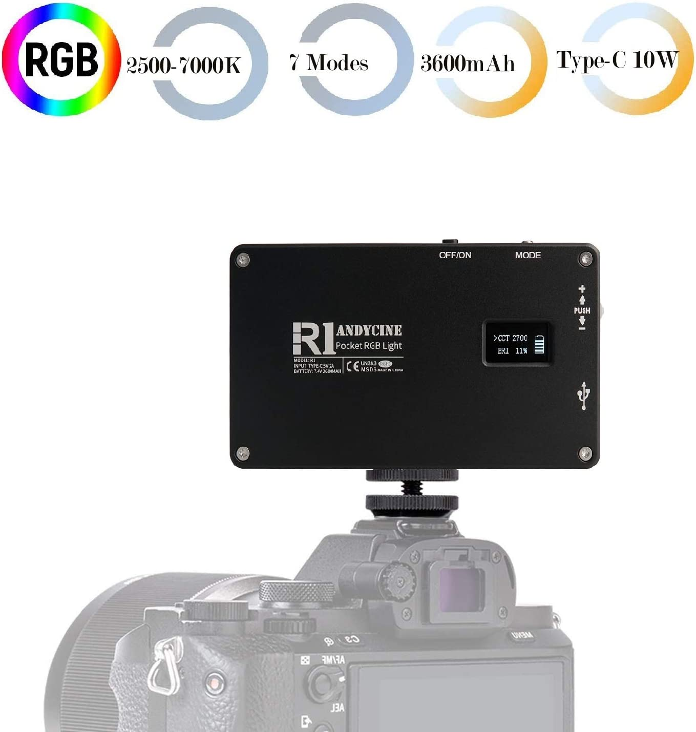 ANDYCINE R1 RGB Pocket Light, Mini USB-C 10W On-Camera Vlogger Video Light 2500-7000K Dimmable with 3600mAh Built in Battery for Sony, Nikon, Canon, Panasonic, Fuji, Filming,Gimbals and More