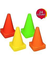 REEHUT Set Coni Sport da 24 Pezzi, Coni Allenamento con Materiale Ambientale, Non Deforma, Anti-Urto per attività, Gioco, Calcio, Pallavolo, ECC.