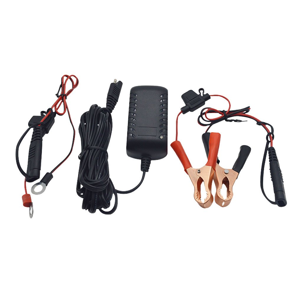 TengShun TNS30W-1201000 12V 1A Portable SLA Lead Acid Battery Charger/Maintainer With Alligator Clips & Ring Terminals Connector by TengShun