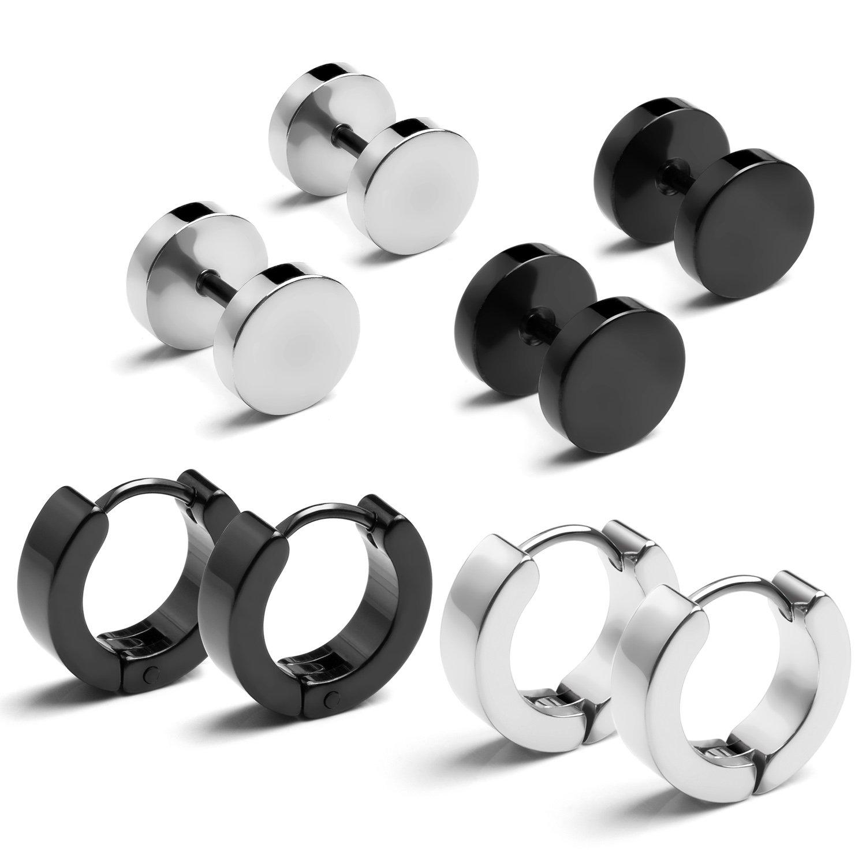 Stainless Steel Stud Earrings & Hoop Huggie Earrings for Men Women Round Earrings Ear Piercing Punk Style