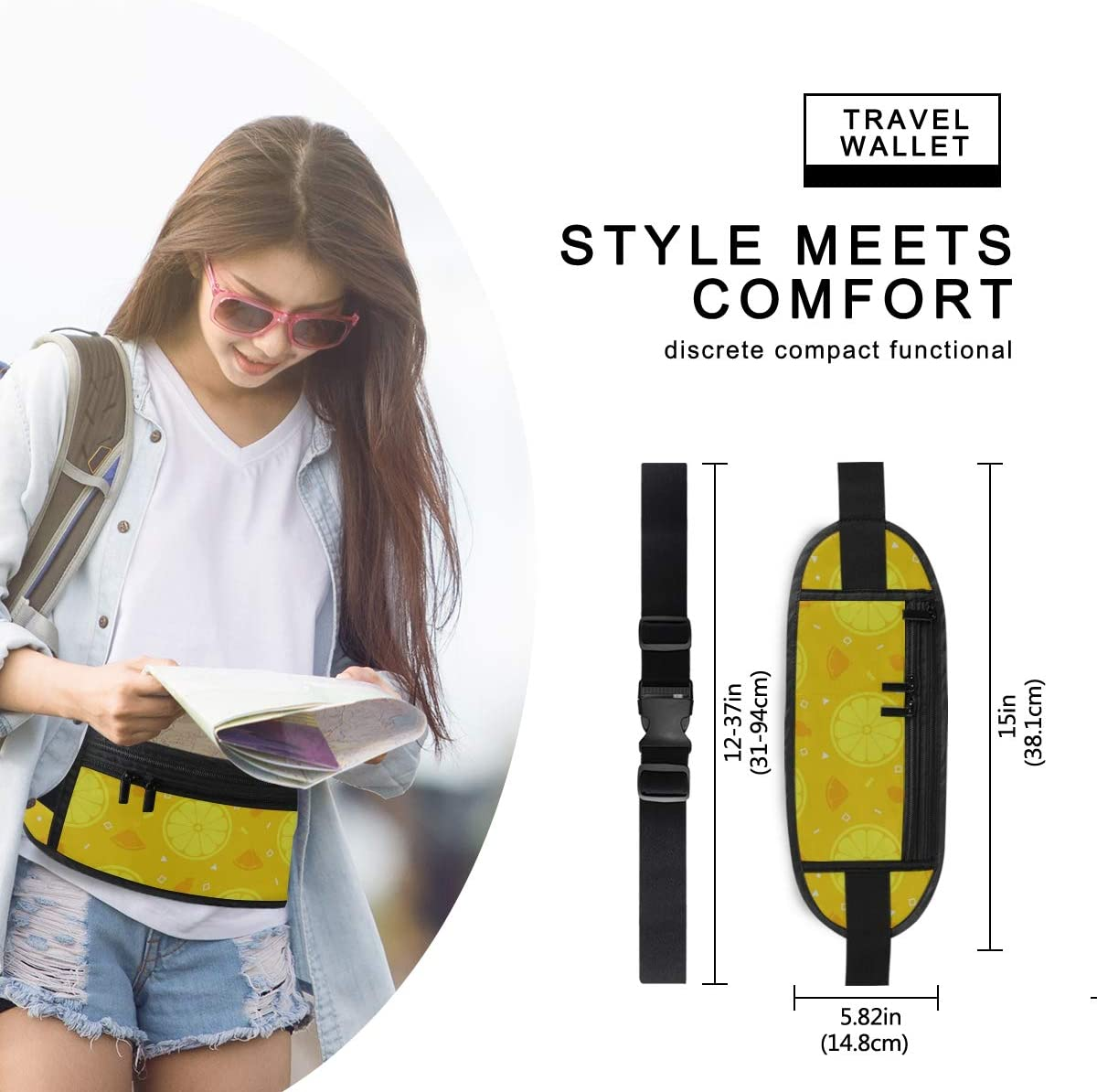 Travel Waist Pack,travel Pocket With Adjustable Belt Lemon Orange Fruits Pattern Running Lumbar Pack For Travel Outdoor Sports Walking
