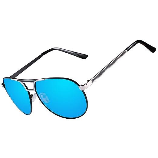 94f739652853 Men Aviator Sunglasses Women Vintage Polarized Pilot Sun Glasses UV 400  Protection by Kennifer (Blue