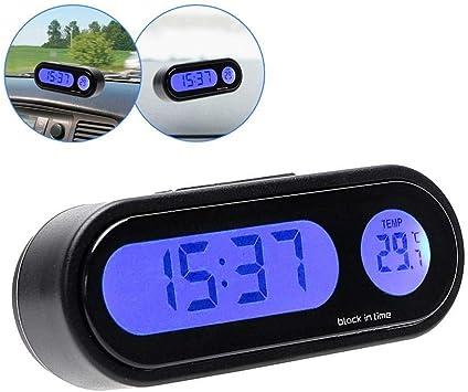 Etbotu Elektronische Mini Uhr Für Das Armaturenbrett Mit Thermometer Schwarz Auto