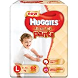 Huggies Ultra Soft Pants Large Size Premium Diapers (62 Counts)